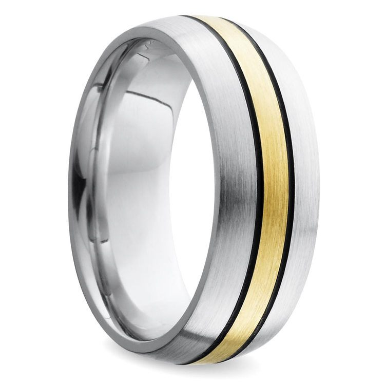 Antiqued Domed Men's Wedding Ring in Cobalt and Yellow Gold | 02