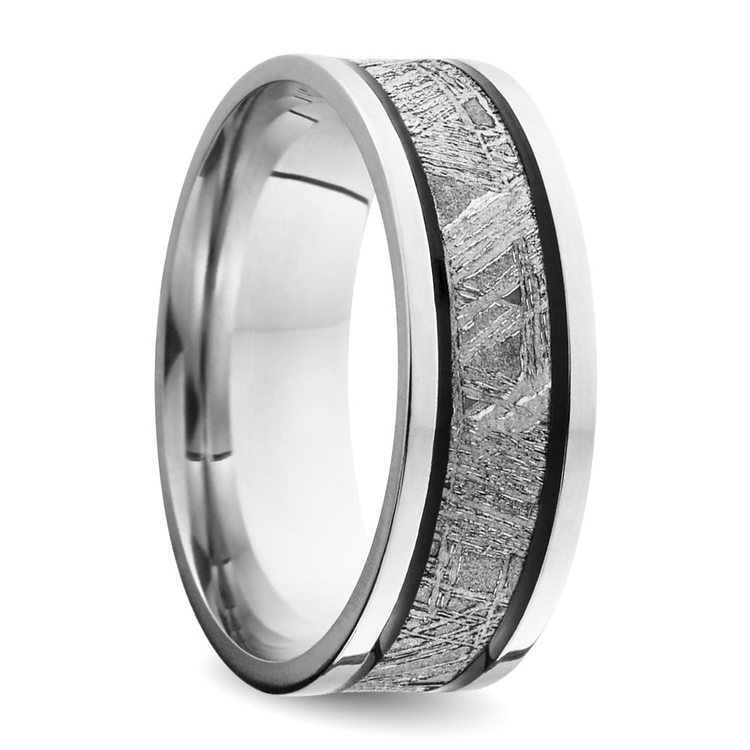 Orion - Antique Cobalt Mens Wedding Ring with Meteorite Inlay | 02