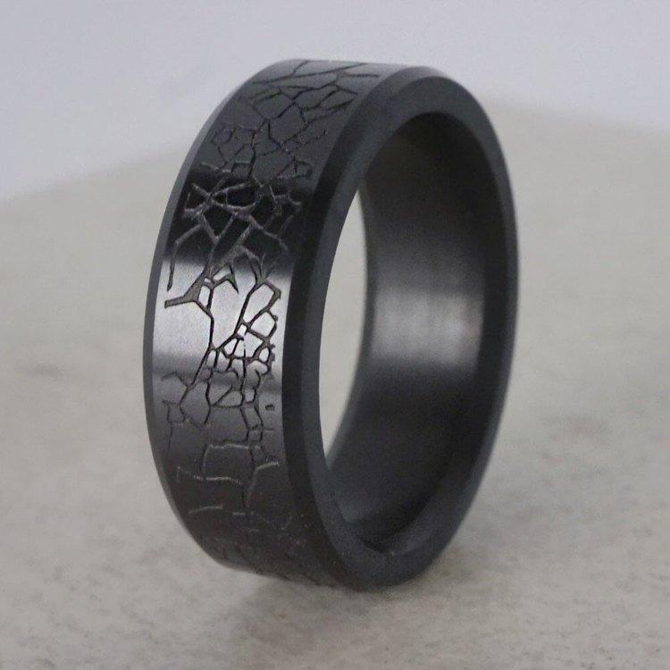 Ares - Laser Carved Glass Crack Mens Elysium Band | 04