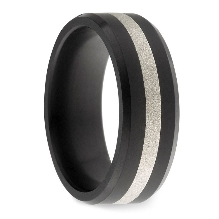Ares - Silver Inlay Matte Men's Elysium Ring | 02