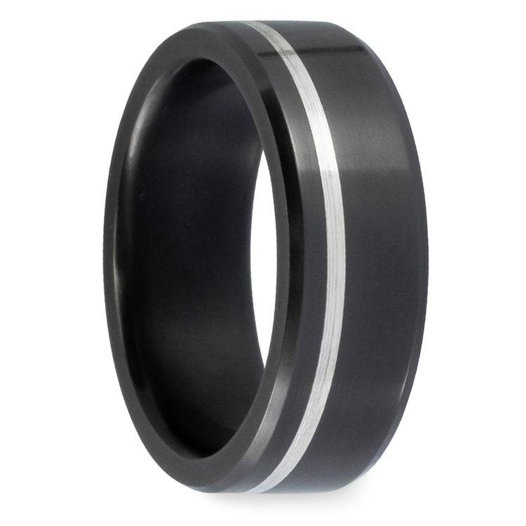 Ares - Offset Silver Inlaid Polished Men's Elysium Ring | 02