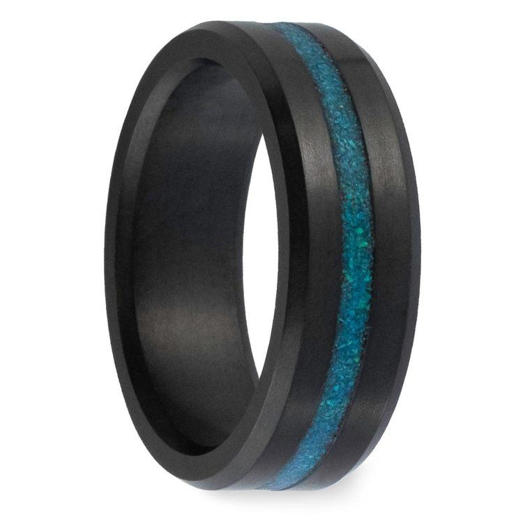 Ares - Opal Inlay Matte Elysium Wedding Band | 02