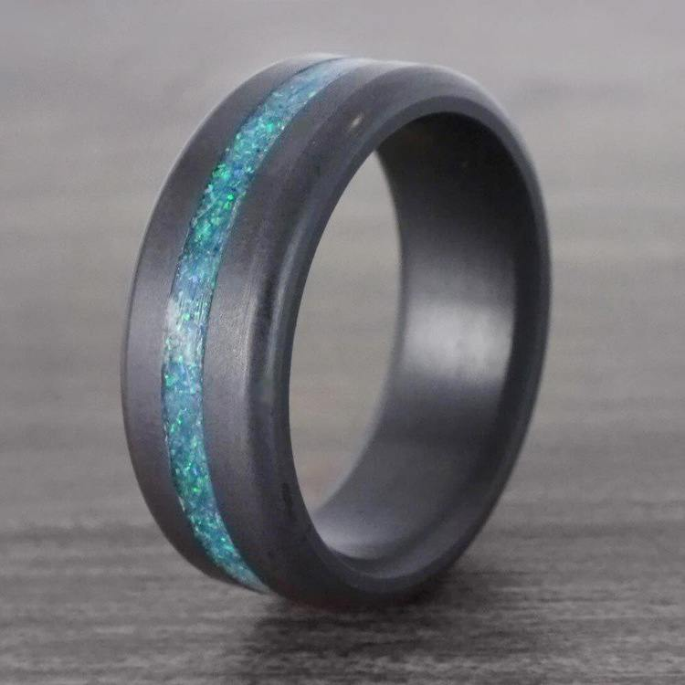 Ares - Opal Inlay Matte Elysium Wedding Band | 06