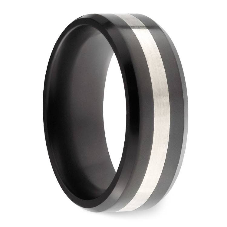 Ares - Silver Inlay Polished Men's Elysium Ring | 02
