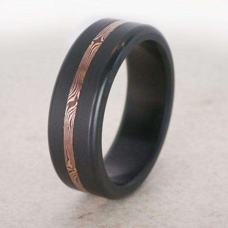 Ares - Rose Gold Mokume Inlay Elysium Wedding Band | 04