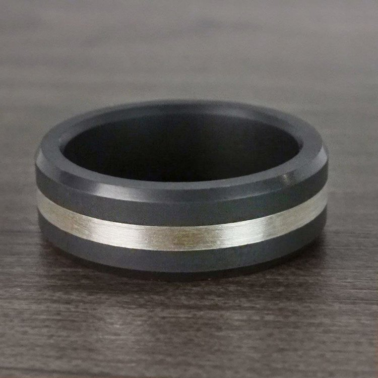 Ares - Silver Inlay Matte Men's Elysium Ring | 05