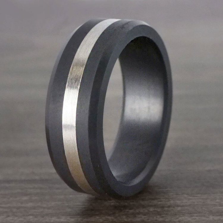Ares - Silver Inlay Matte Men's Elysium Ring | 04