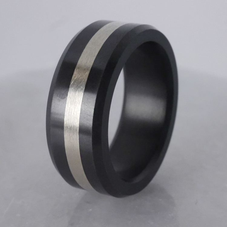 Ares - Silver Inlay Polished Men's Elysium Ring | 04