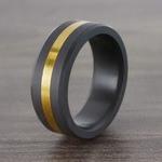 Ares - Gold Inlay Matte Men's Elysium Ring | Thumbnail 06
