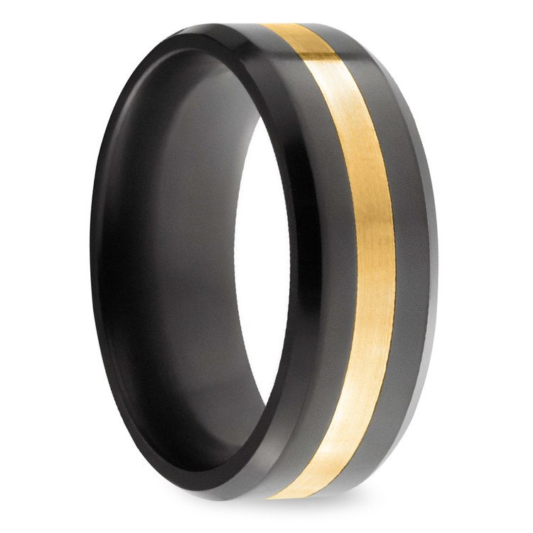 Ares - Gold Inlay Polished Men's Elysium Ring | 02