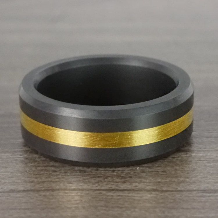 Ares - Gold Inlay Polished Men's Elysium Ring | 07