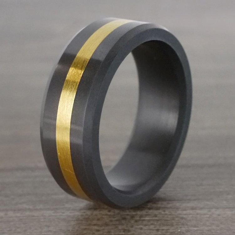 Ares - Gold Inlay Polished Men's Elysium Ring | 06