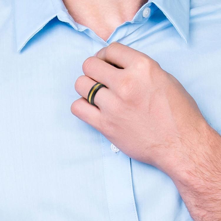 Ares - Gold Inlay Satin Men's Elysium Ring | 05
