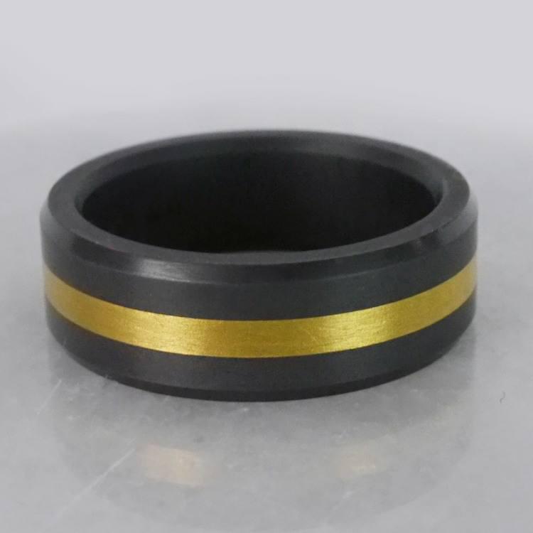 Ares - Gold Inlay Satin Men's Elysium Ring | 07