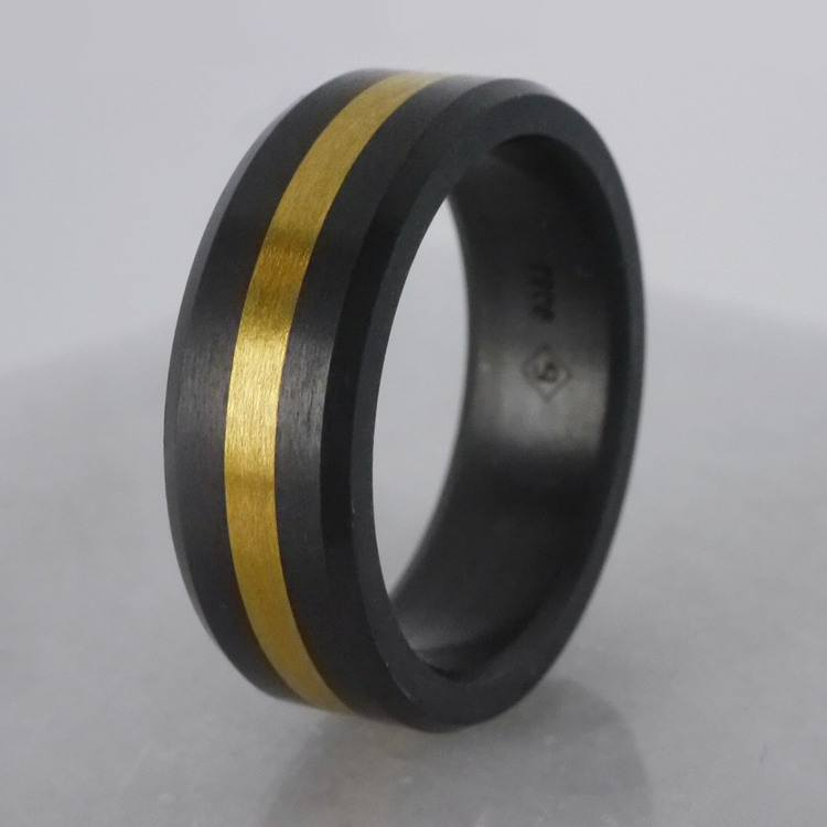 Ares - Gold Inlay Satin Men's Elysium Ring | 06