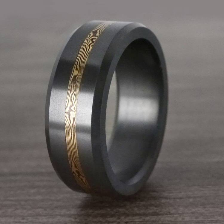 Ares - Yellow Gold Mokume Inlay Elysium Wedding Band   06