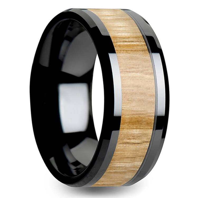 Ash Wood Inlay Men's Beveled Ring in Black Ceramic (10mm) | 02