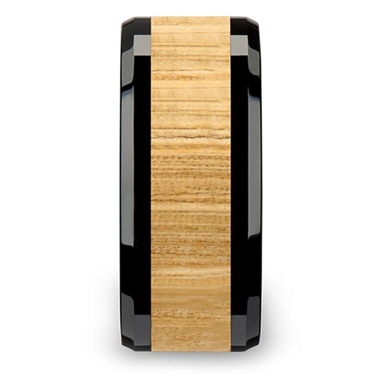 Ash Wood Inlay Men's Beveled Ring in Black Ceramic (10mm) | 03