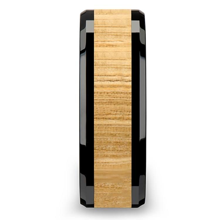 Smoke Box - 6mm Beveled Black Ceramic Mens Band with Ash Wood Inlay | 03