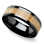 Smolder - 8mm Beveled Black Ceramic Mens Band with Ash Wood Inlay | Thumbnail 01