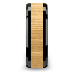 Smolder - 8mm Beveled Black Ceramic Mens Band with Ash Wood Inlay | Thumbnail 03