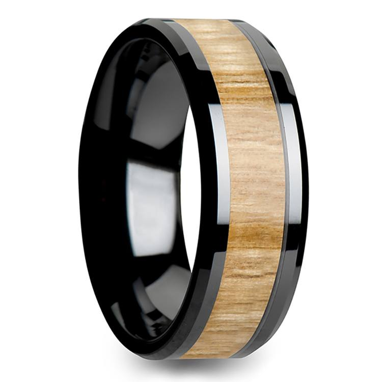 Smolder - 8mm Beveled Black Ceramic Mens Band with Ash Wood Inlay | 02