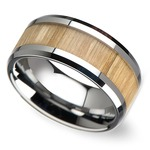 Ash Wood Inlay Men's Beveled Ring in Tungsten (10mm) | Thumbnail 01