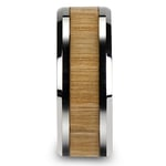 Ash Wood Inlay Men's Beveled Ring in Tungsten (10mm) | Thumbnail 03