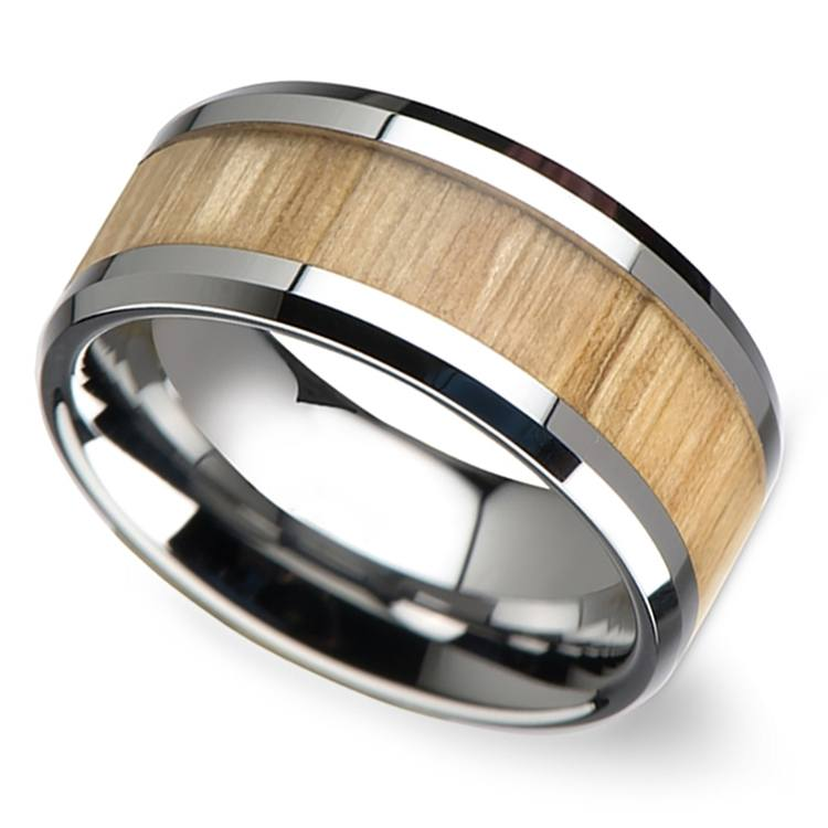 Ash Wood Inlay Men's Beveled Ring in Tungsten (10mm) | 01