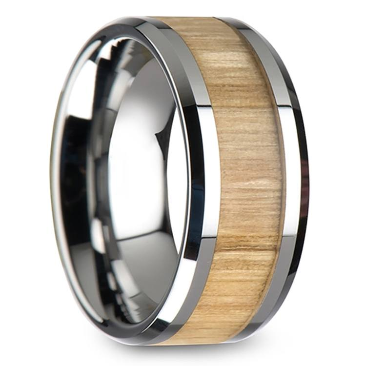 Ash Wood Inlay Men's Beveled Ring in Tungsten (10mm) | 02