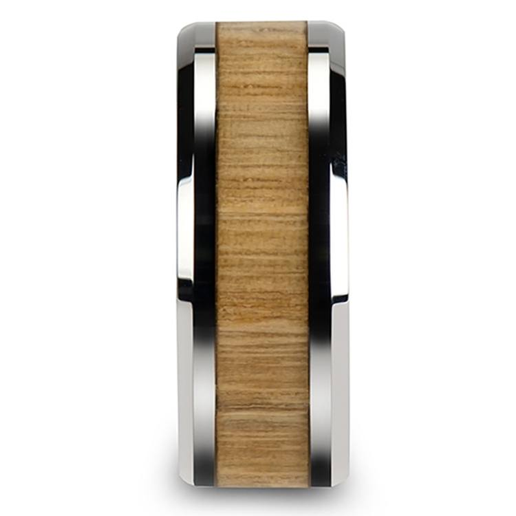 Ash Wood Inlay Men's Beveled Ring in Tungsten (10mm) | 03