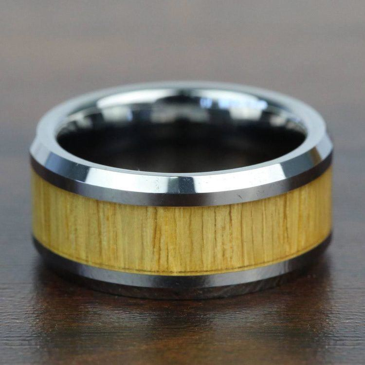 Ash Wood Inlay Men's Beveled Ring in Tungsten (10mm) | 04