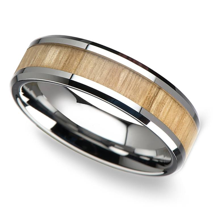 Ash Wood Inlay Beveled Ring in Tungsten (6mm) | 01