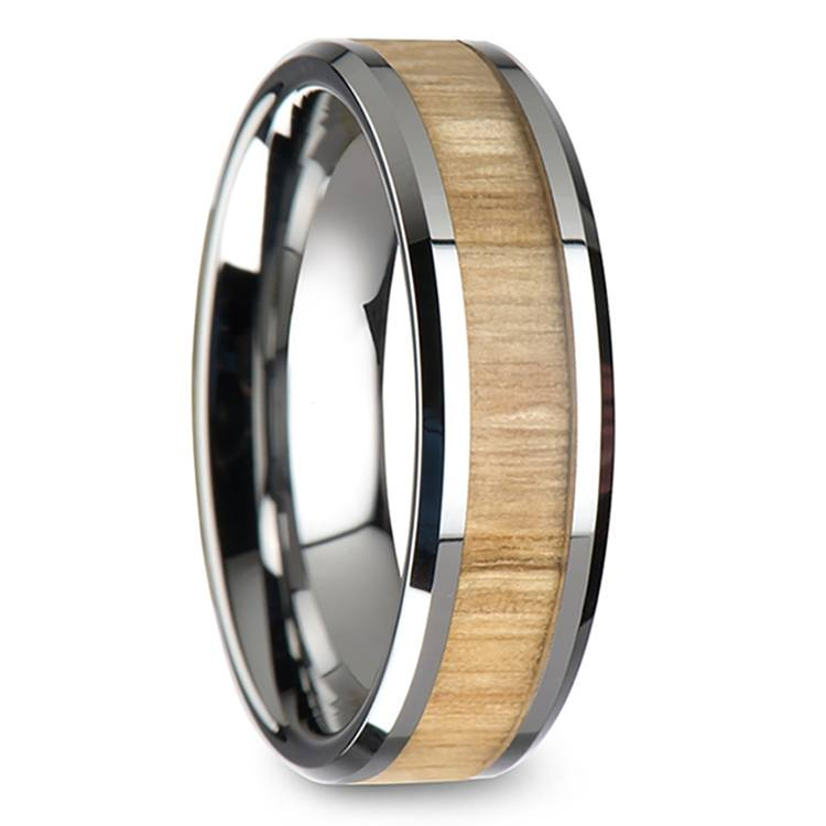 Ash Wood Inlay Beveled Ring in Tungsten (6mm) | 02