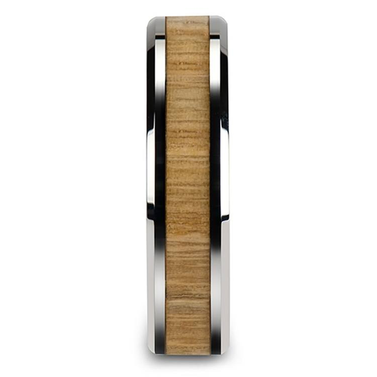 Ash Wood Inlay Beveled Ring in Tungsten (6mm)   03