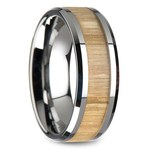 Ash Wood Inlay Men's Beveled Ring in Tungsten (8mm) | Thumbnail 02