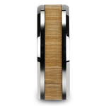 Ash Wood Inlay Men's Beveled Ring in Tungsten (8mm) | Thumbnail 03