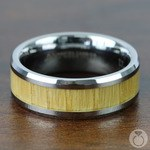 Ash Wood Inlay Men's Beveled Ring in Tungsten (8mm) | Thumbnail 04