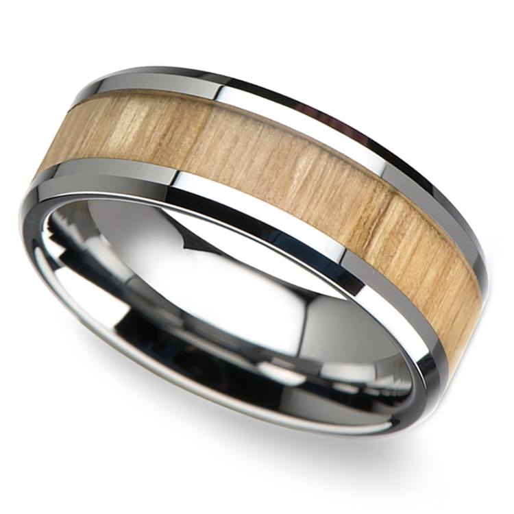 Ash Wood Inlay Men's Beveled Ring in Tungsten (8mm) | 01
