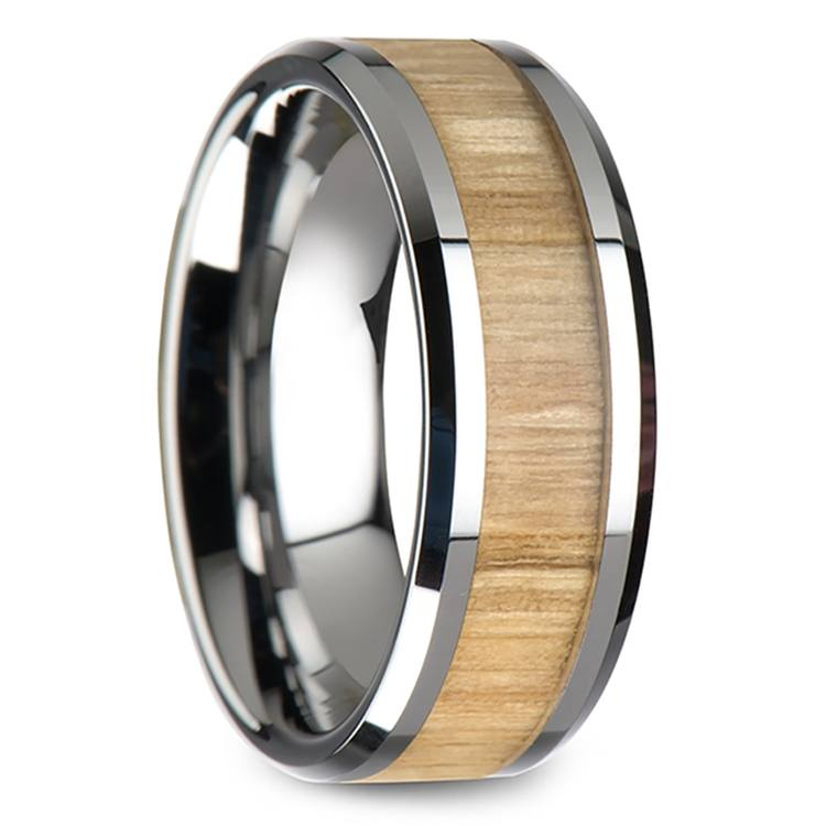 Ash Wood Inlay Men's Beveled Ring in Tungsten (8mm) | 02