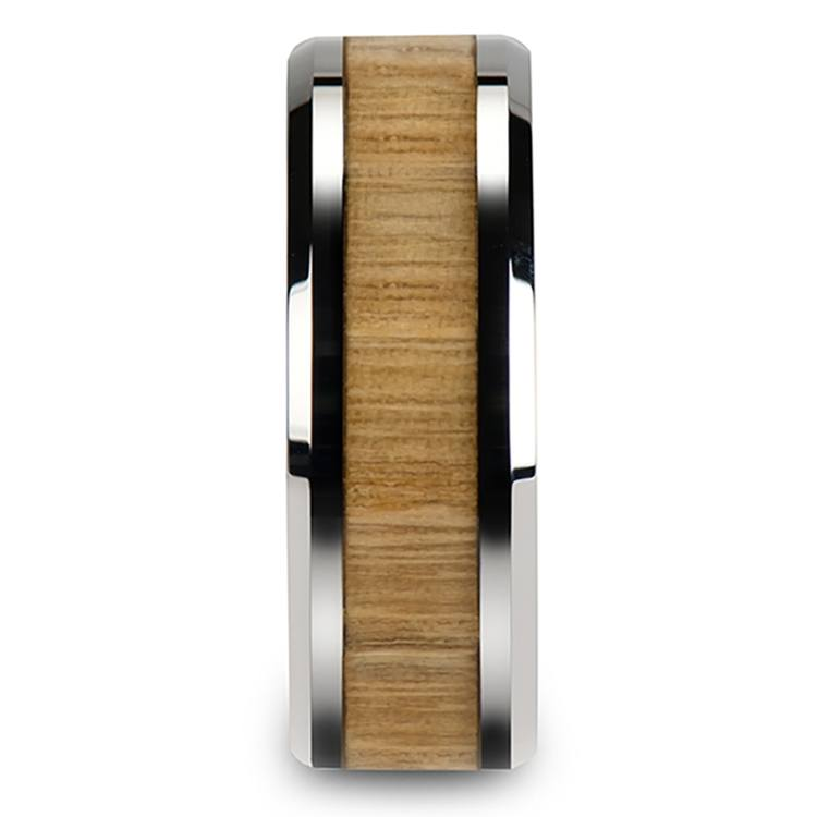 Ash Wood Inlay Men's Beveled Ring in Tungsten (8mm) | 03