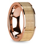 Ash Wood Inlay Men's Wedding Ring in Rose Gold | Thumbnail 02