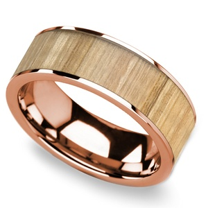 Ash Wood Inlay Men's Wedding Ring in Rose Gold