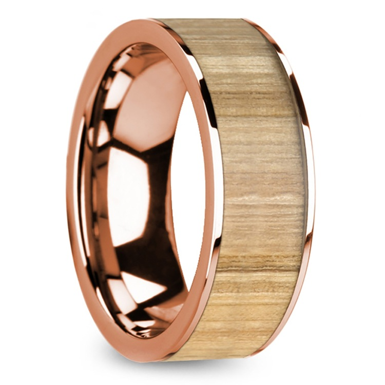Ash Wood Inlay Men's Wedding Ring in Rose Gold | 02