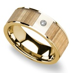 Ash Wood Inlay Men's Wedding Ring in Yellow Gold with Diamond Accent | Thumbnail 01