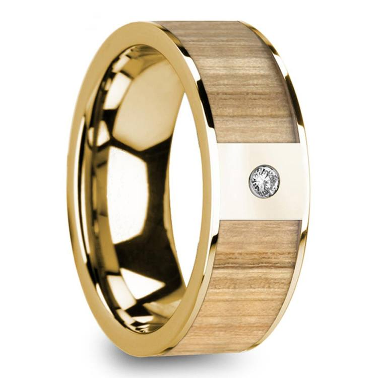 Ash Wood Inlay Men's Wedding Ring in Yellow Gold with Diamond Accent | 02