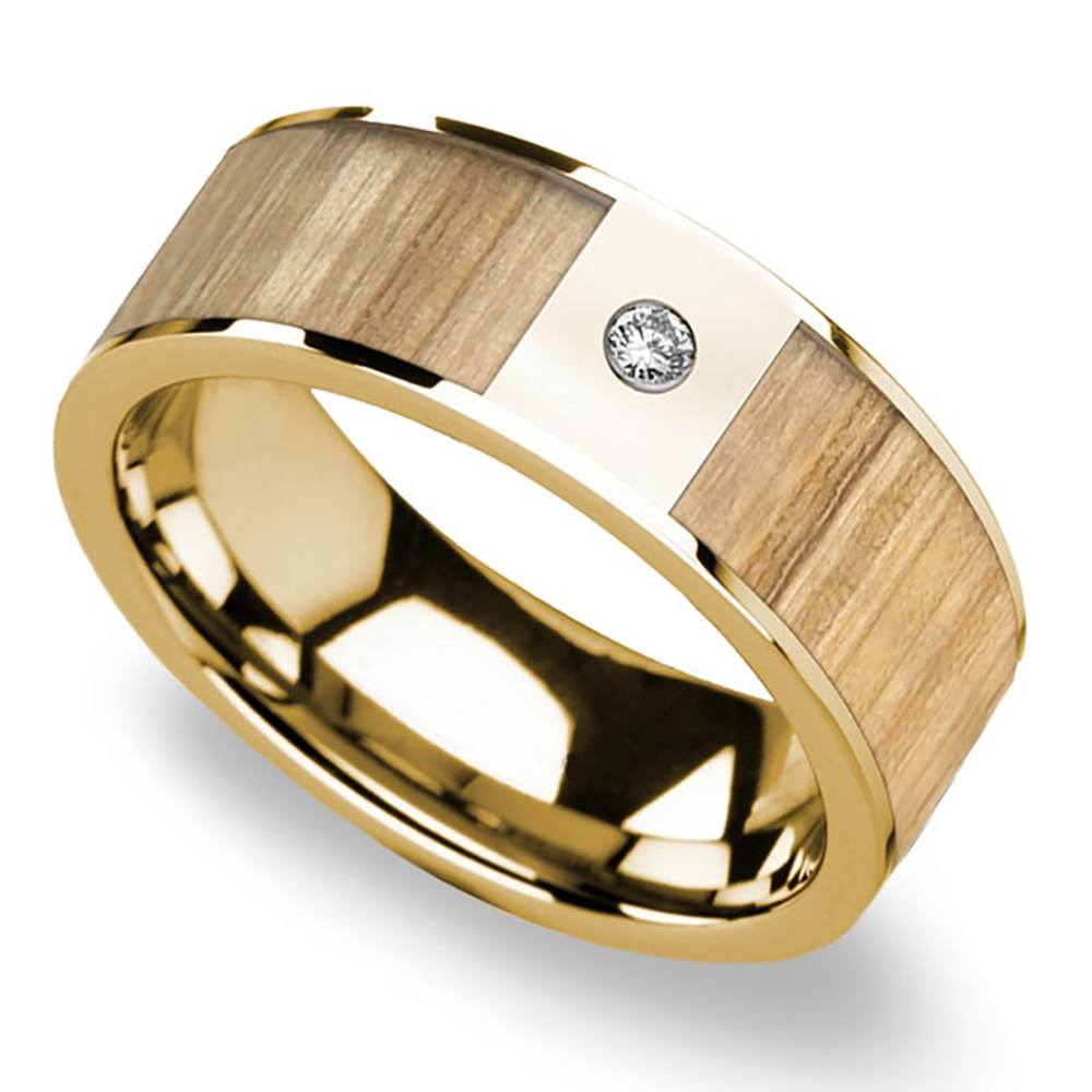 Ash Wood Inlay Men S Wedding Ring In Yellow Gold With