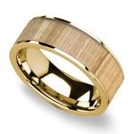 Ash Wood Inlay Men's Flat Wedding Ring in Yellow Gold | Thumbnail 01