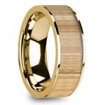 Ash Wood Inlay Men's Flat Wedding Ring in Yellow Gold | Thumbnail 02