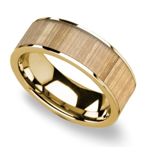 Kindling - 14K Yellow Gold Mens Band with Ash Wood Inlay